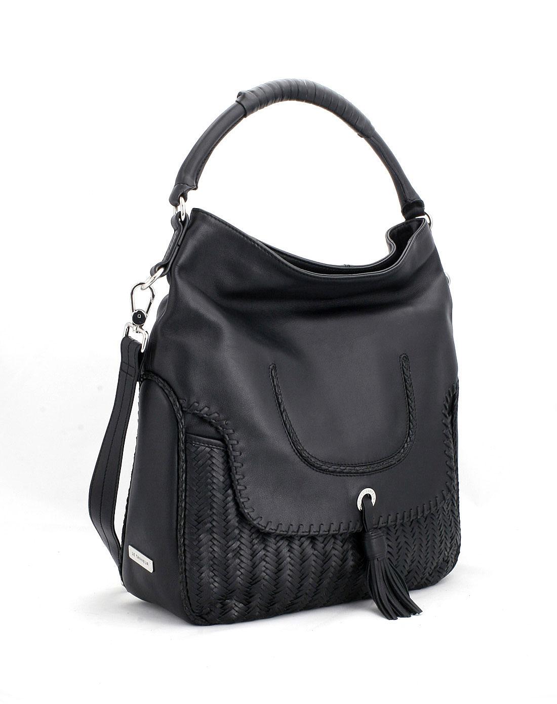 [ le tanneur ] 女款黑色单肩斜背包图片