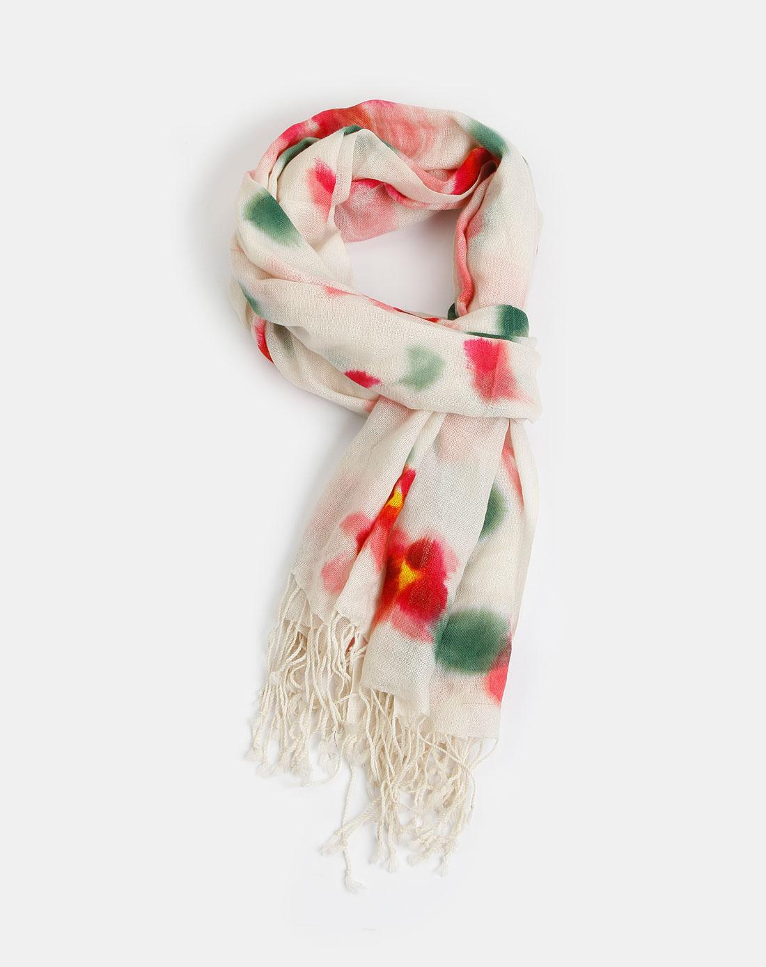 彩色羊毛手绘围巾