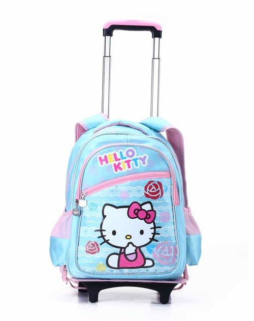 kitty女童蓝色拉杆书包
