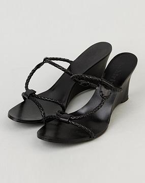 欧时力ochirly 女款黑色坡跟细带凉鞋