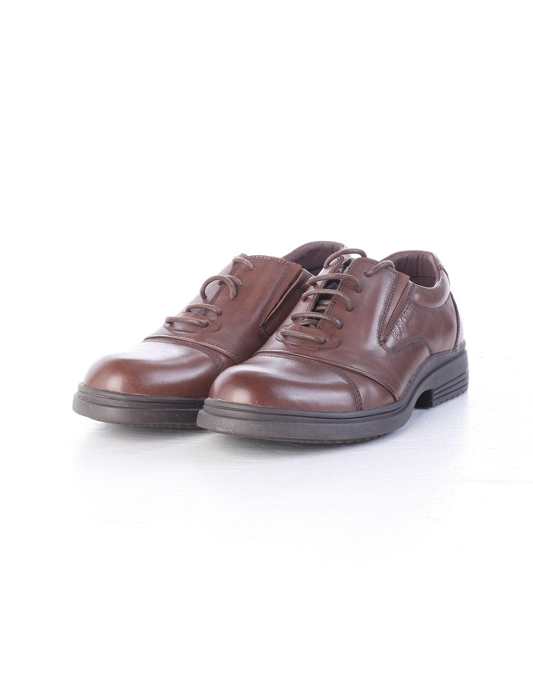 棕色经典休闲皮鞋_保罗·盖帝p