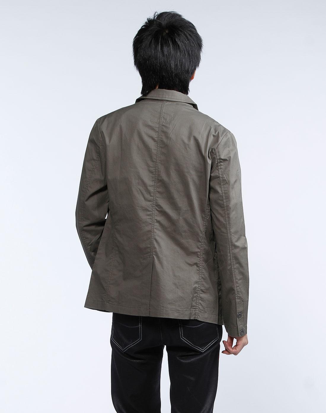 男装专场深卡其色长袖西装外套