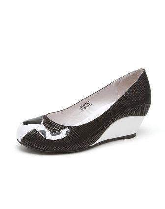 索菲娅safiya女鞋专场女款黑色颗粒纹压花牛皮单鞋