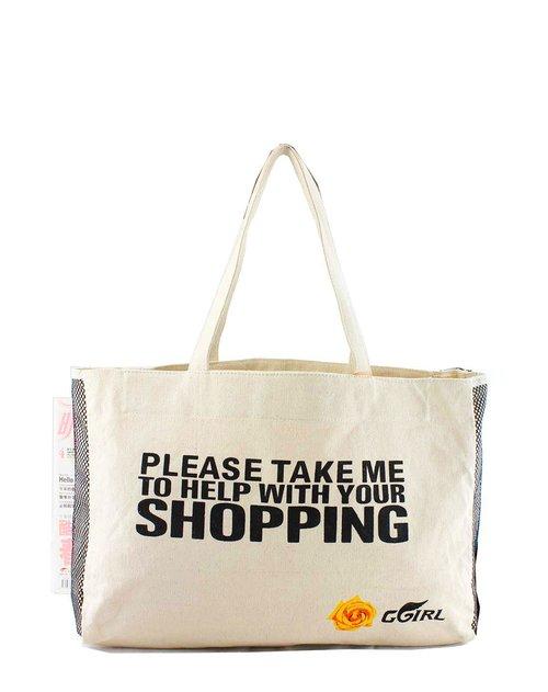 ggirl箱包专场女款米白色手绘环保系列多用包